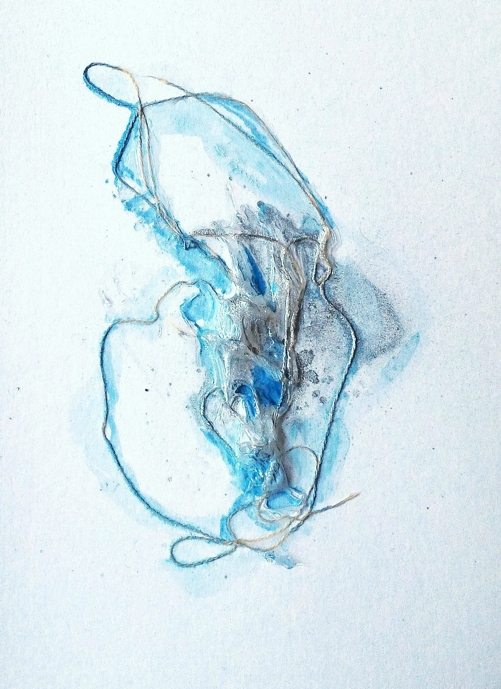 Glacial, 4×6″, mixed media on watercolor paper