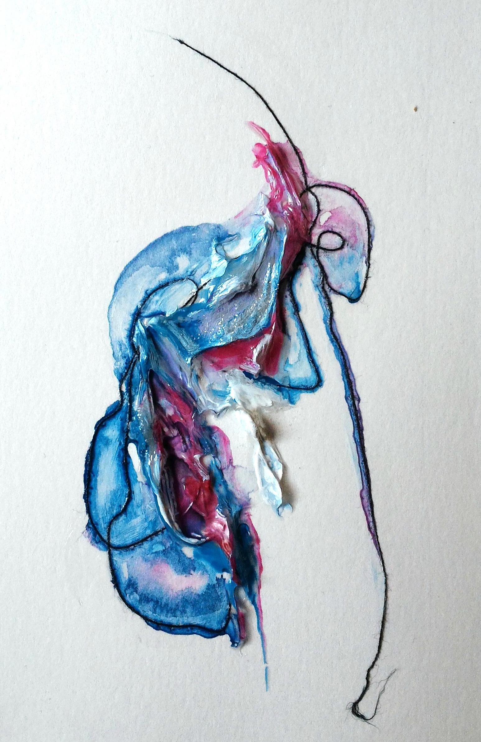 Slink, 4×6″, mixed media on watercolour paper (SOLD)