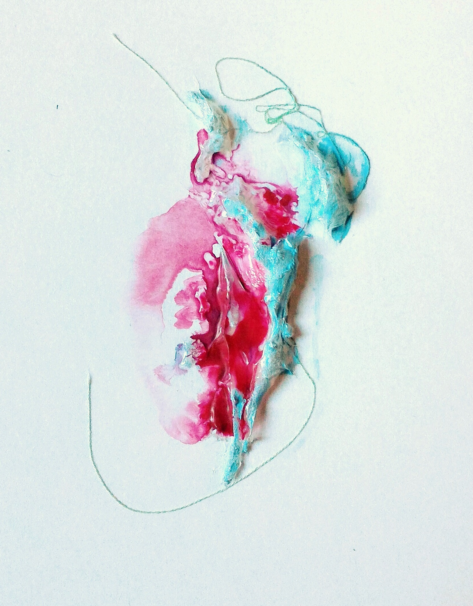 Blush, 6×8″, mixed media on watercolour paper (SOLD)