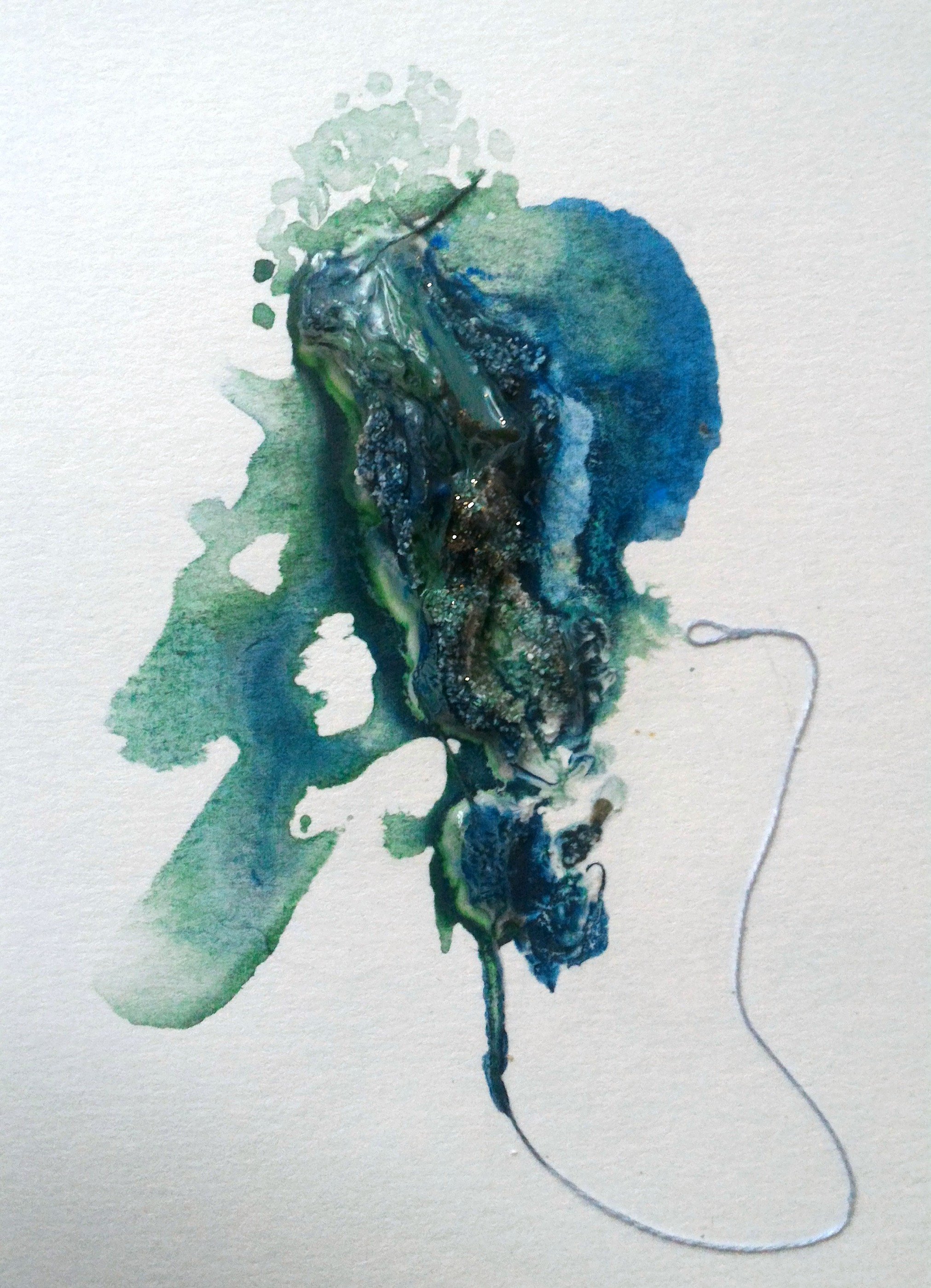 Plunge, 4×6″, mixed media on watercolour paper