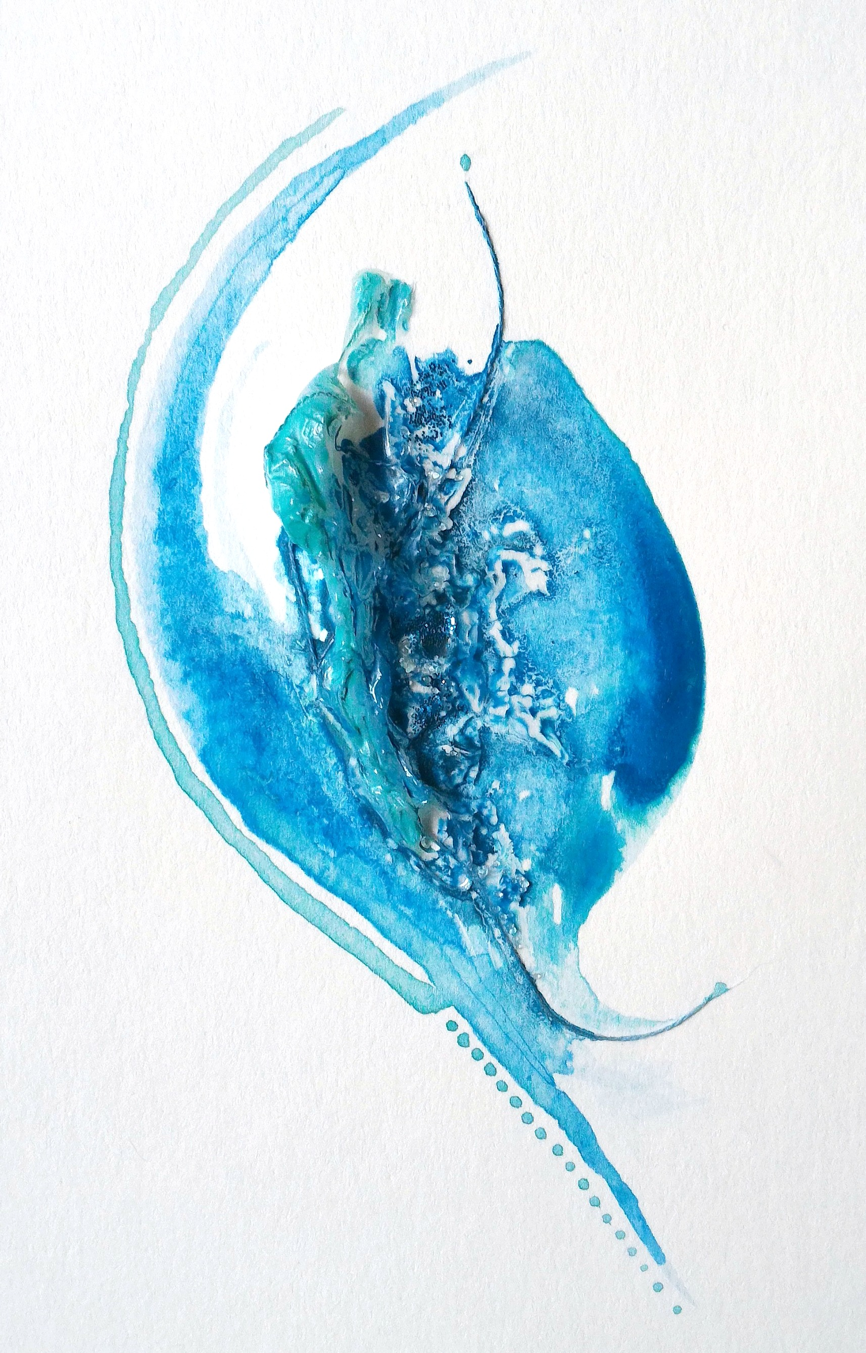 Torrent,  4×6″, mixed media on watercolour paper, (SOLD)